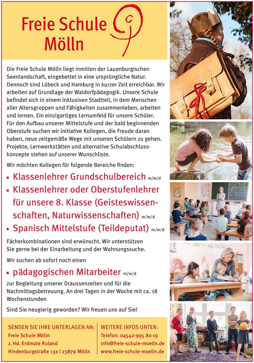 Stellenanzeige Freie Schule Mölln